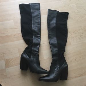 Over the knee black heeled Vince Camuto boots